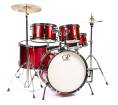Granite Percussion - 5 Piece Junior Drum Set w/Cymbals, Stands, Pedal & Throne - Metallic Red