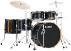 Tama - Hyper-Drive Duo 5-Piece Shell Pack (10,12,16,22,Snare) - Flat Black Vertical Stripe