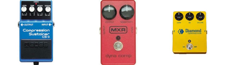 Boss, MXR, and Diamond compression pedals