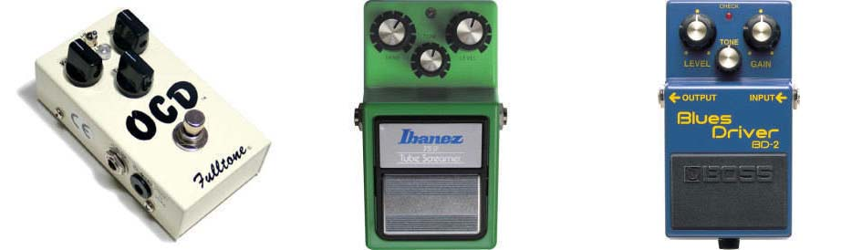 OCD Fulltone, Ibanez, Boss Blues Driver effects pedals
